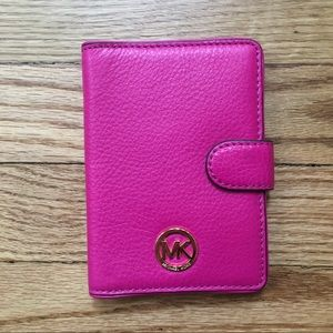 Michael Kors Pink Passport Style Leather Wallet